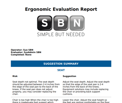Ergonomic assessment PDF output