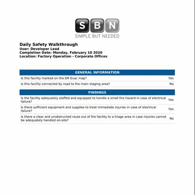 Report seamlessly on scheduled and unscheduled inspections for fire hazards and safety needs