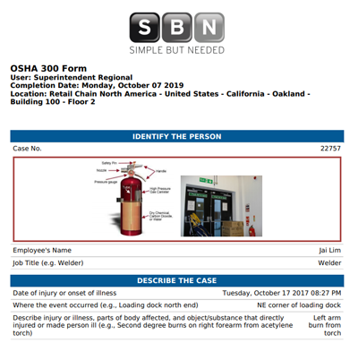 Reporting OSHA 300 cases is simple with SBN Software
