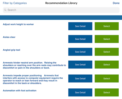 Select ergonomic recommendations from the recommendation library